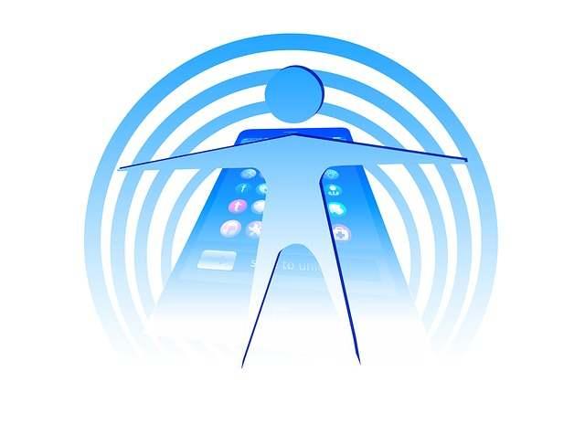 Картинка Человек в поле воздействия излучений от WiFi
